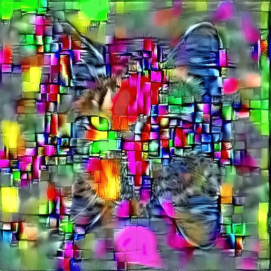 Artificial neural style Cubism mirror cat