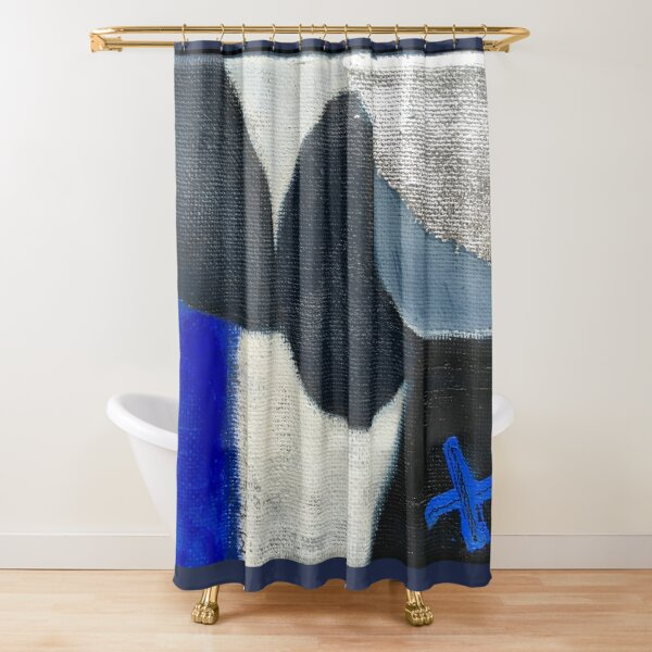 blue silver art shower curtains redbubble