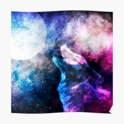 Galaxy Wolf Wall Art Redbubble