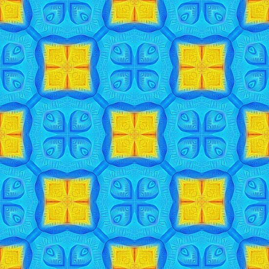 Yellow Blue DeepDream Pattern