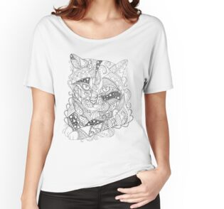 'Colorable Cat Abstract Art Adult Coloring' T-Shirt by ArtistryByLM