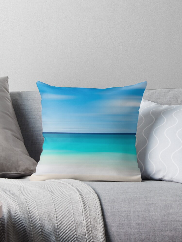 Coastal Decor Throw Pillow Beach Cottage Living Room Teal Turquoise Aqua Beige White Nautical