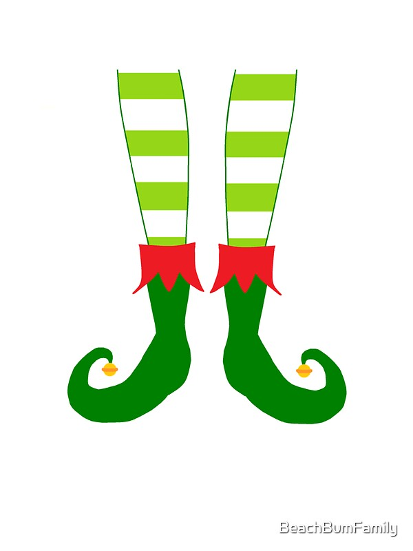 Red And Green Funny Christmas Elf Feet Stickers By