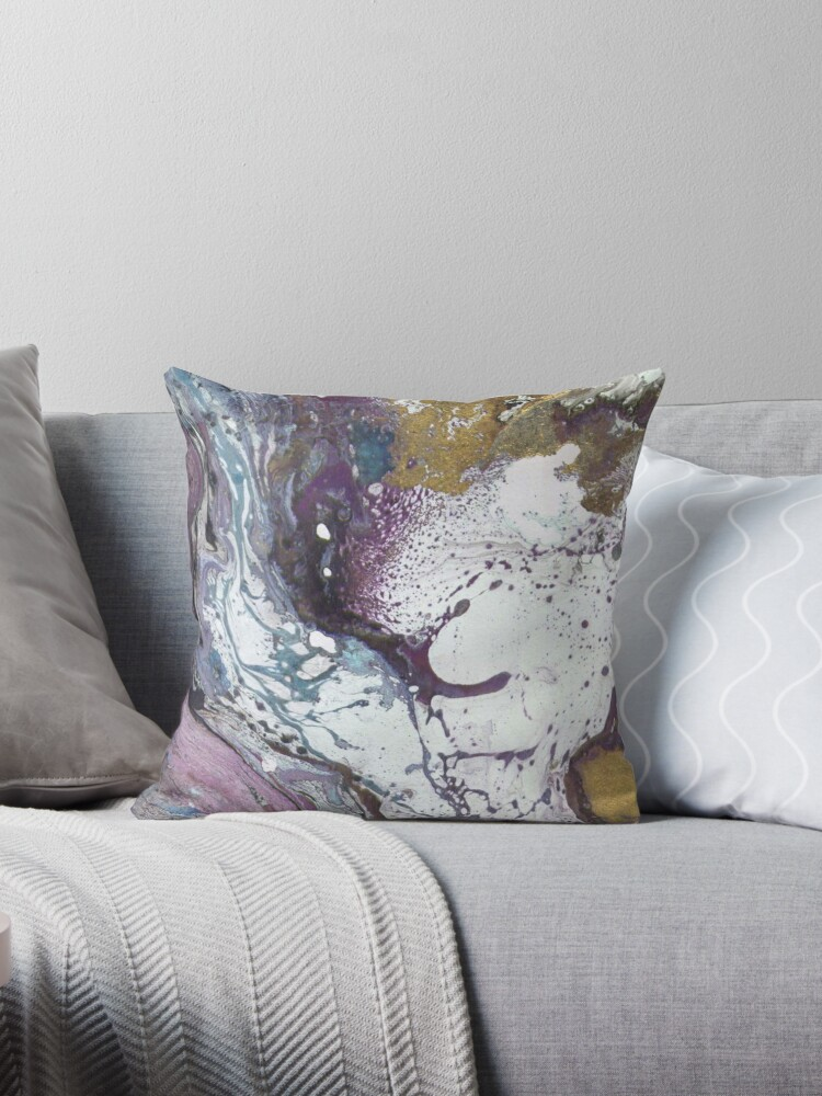 Purple  Gold Marble Texture Throw Pillows by t0nksx