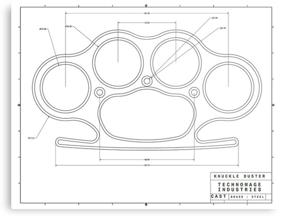 brass knuckles diagram deer skeleton labeled knuckle duster plain schematic metal prints by aromis redbubble