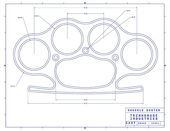 brass knuckles diagram 2008 chevy impala radio wiring knuckle duster blue schematic posters by aromis redbubble