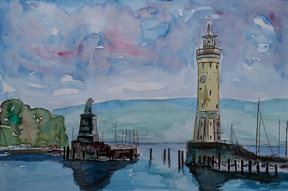 Lindau Hafen mit Leuchtturm und Lwen by artshop77