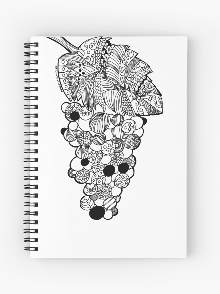 grapes zentangle black and