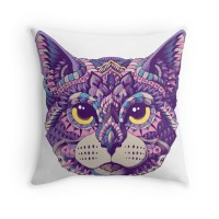 """Cat Head (Color Version)"" Throw Pillows by BioWorkZ ..."