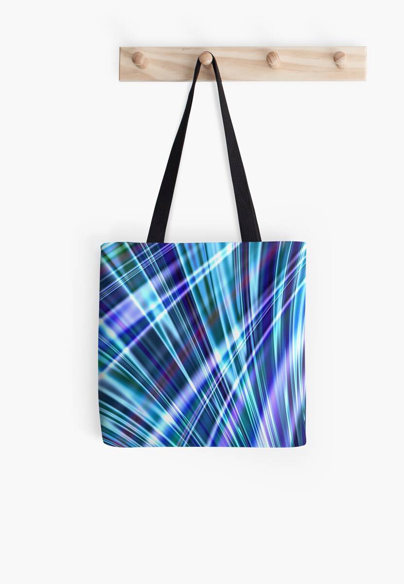 blue light refraction abstract tote bags