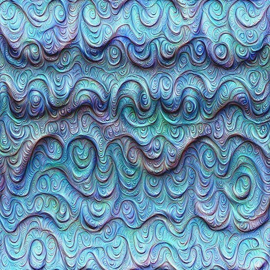 Frozen sea liquid lines and waves #DeepDream