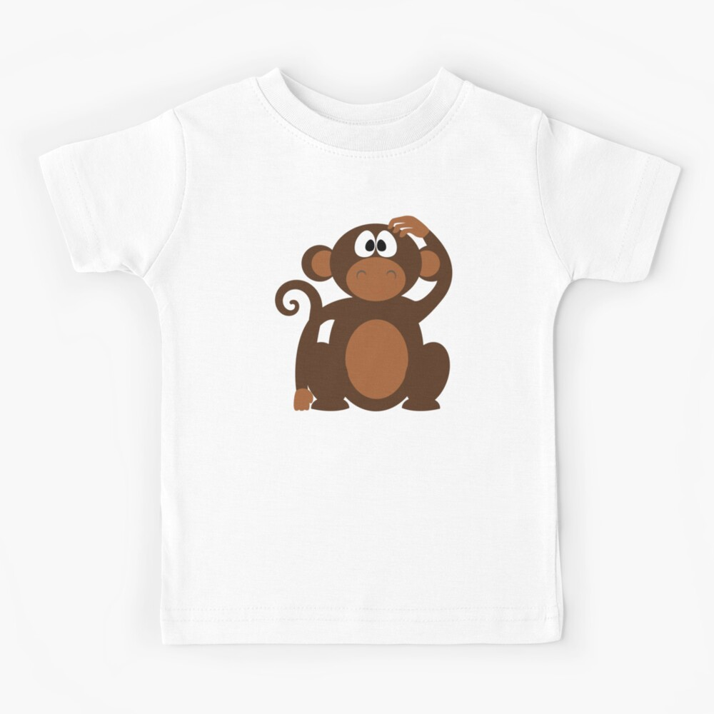 Cute Funny Cartoon Confused Monkey Head Bear Character Doodle Animal Drawing Kids T Shirt By Sago Design Redbubble