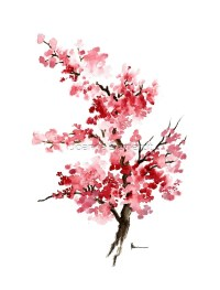 """Cherry blossom branch art print watercolor painting ..."