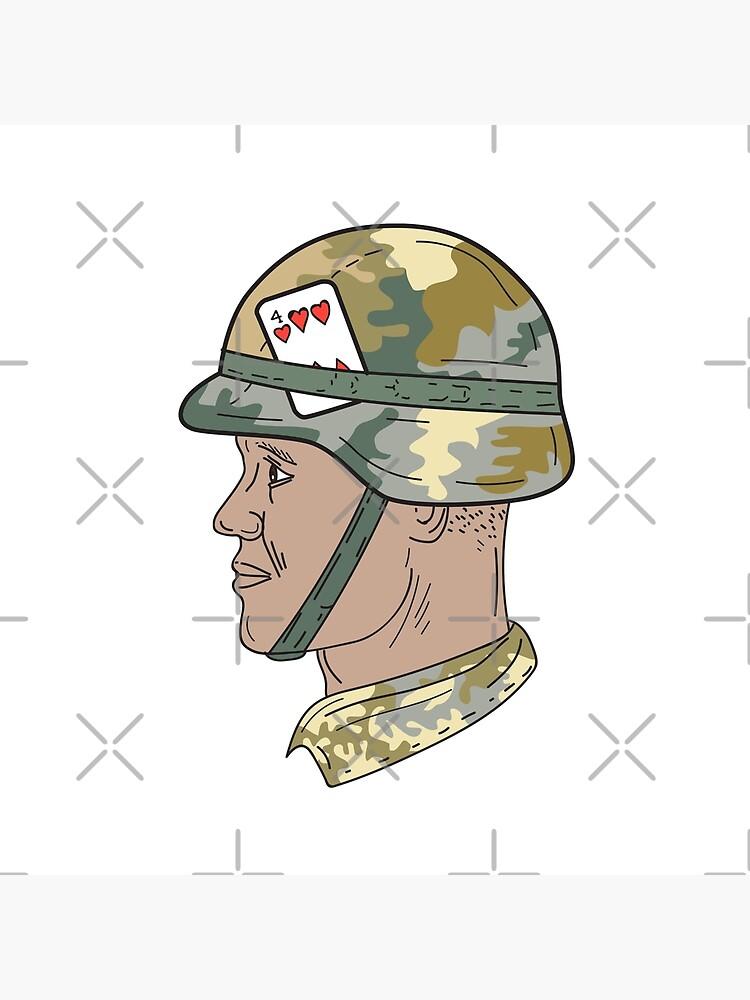Army Helmet Drawing : helmet, drawing, African, American, Soldier, Helmet, Playing, Drawing