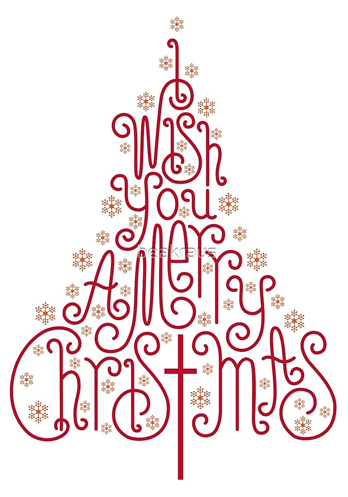 Typographic Christmas Tree With Hand Drawn Letters By