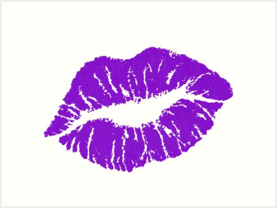purple lips art print