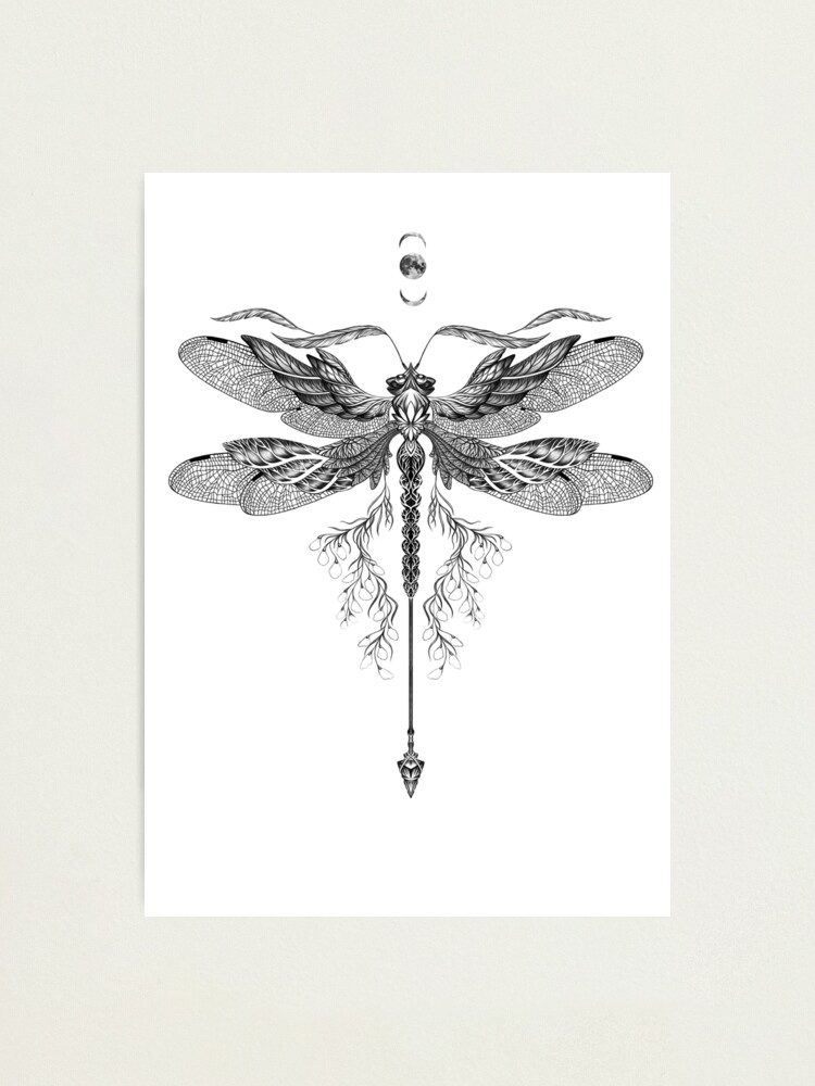 Dragon Fly Tattoo Black And White Photographic Print By Ruta Redbubble