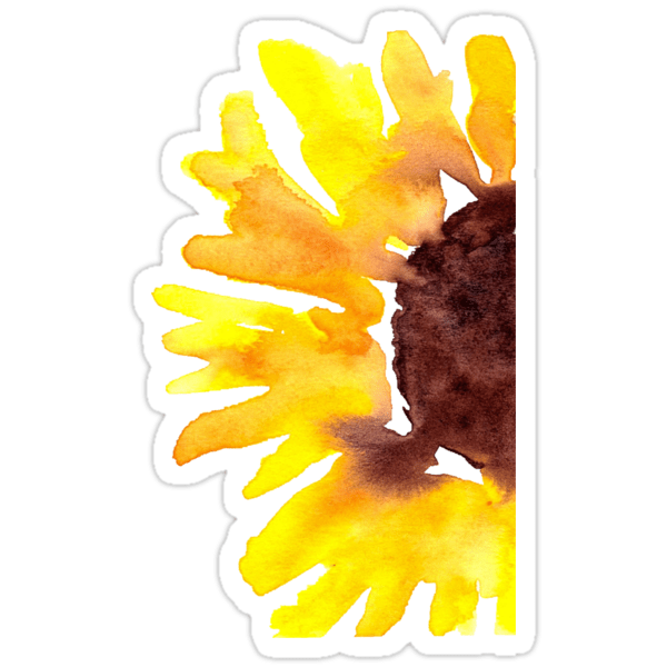 Watercolor Sunflower Stickers by beccadryden  Redbubble