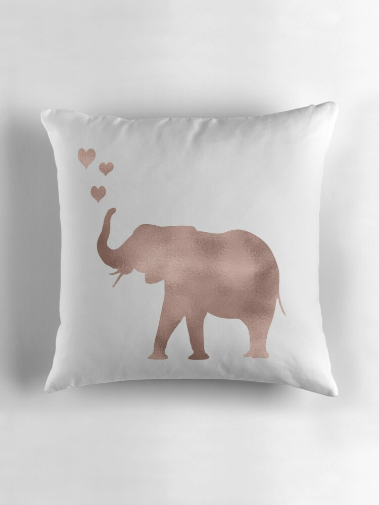 Elephant love  rose gold foil Throw Pillows by