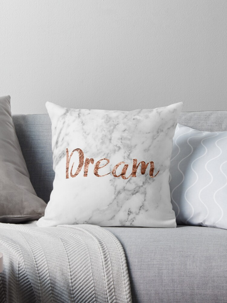 Rose gold on marble dream Throw Pillows by peggieprints