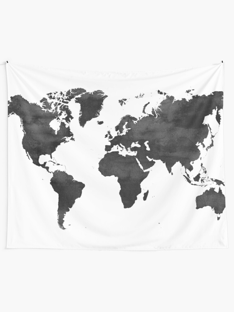 World Map Tapestry Black And White : world, tapestry, black, white, WORLD, Tapestry, NORDIKART, Redbubble