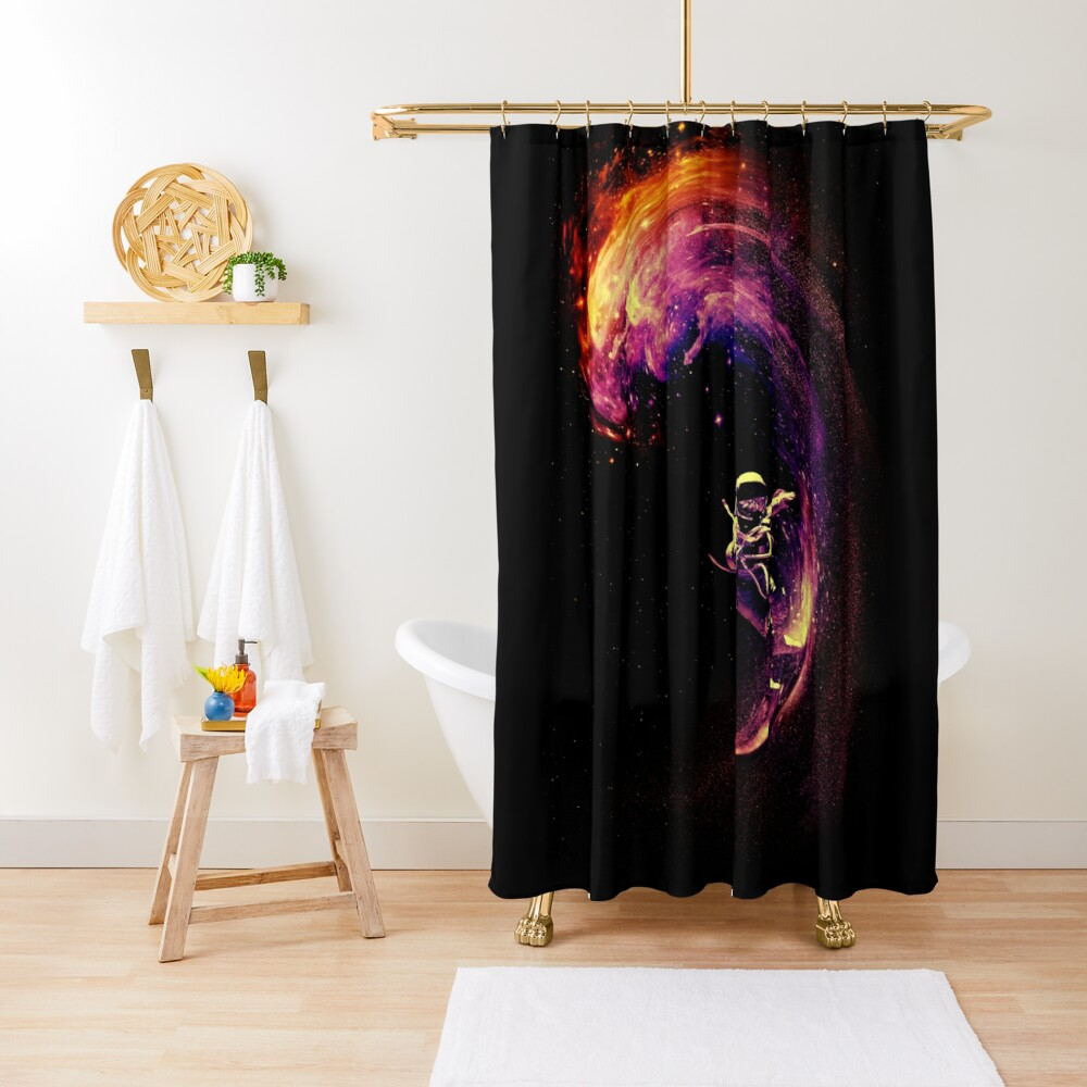 space surfing shower curtain by nicebleed redbubble