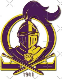 """""""Omega Purple Gold Que Psi Phi Knight Shield"""" Posters by A ..."""