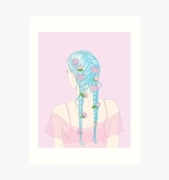 flower braids art print by anneamanda redbubble [ 1000 x 1000 Pixel ]