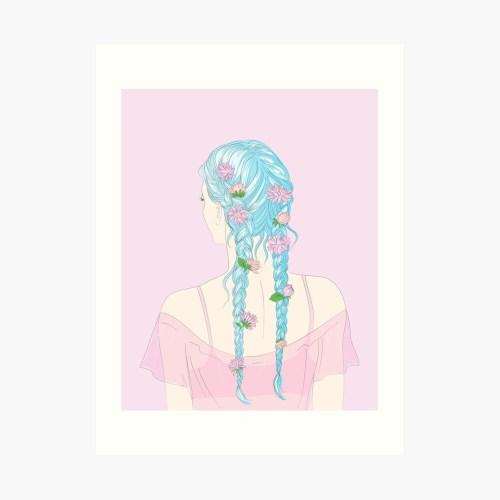 small resolution of  flower braids art print by anneamanda redbubble