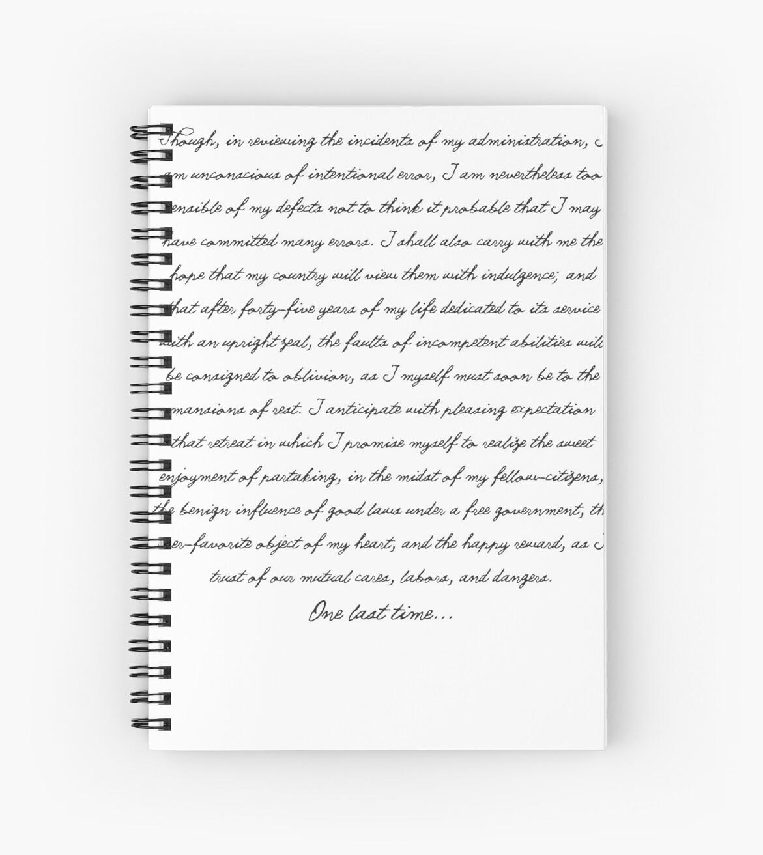Washington S Farewell Address Spiral Notebooks By
