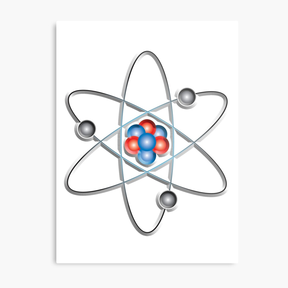 medium resolution of atom atomic lithium atom model small physics neutrons protons electrons nuclear energy fission fusion on white metal print