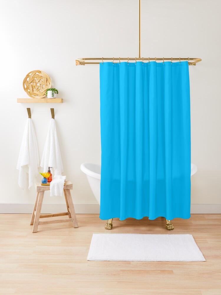 deep sky blue solid sky blue plain deep sky blue shower curtain by ozcushions redbubble
