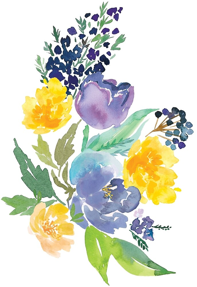 watercolor flowers blue yellow