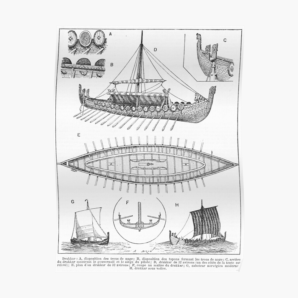 hight resolution of  vintage viking naval ship history and diagram poster by bravuramedia redbubble