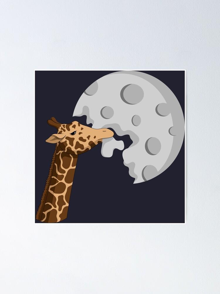 La Girafe Et La Lune : girafe, Poster, Girafe, Mange, FiddlePhantasm, Redbubble