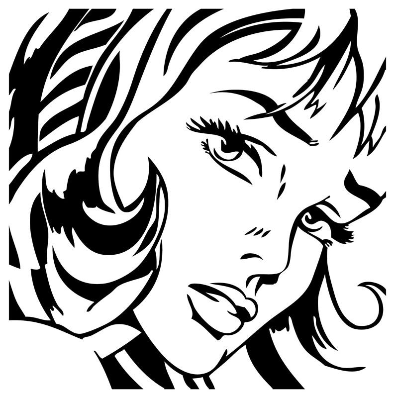 """""""Girl With Hair Ribbon - Roy Lichtenstein Stencil"""" Art"""