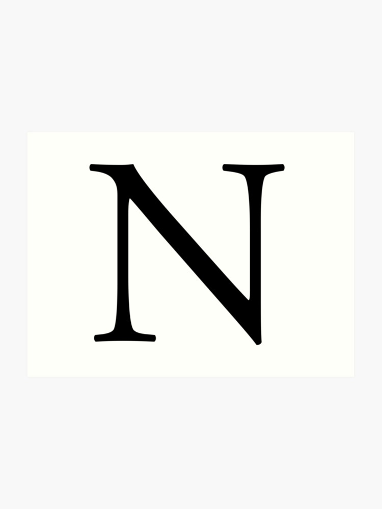 N Alphabet Letter November New York A To Z 14th Letter Of Alphabet Initial Name Letters Tag Nick Name Art Print