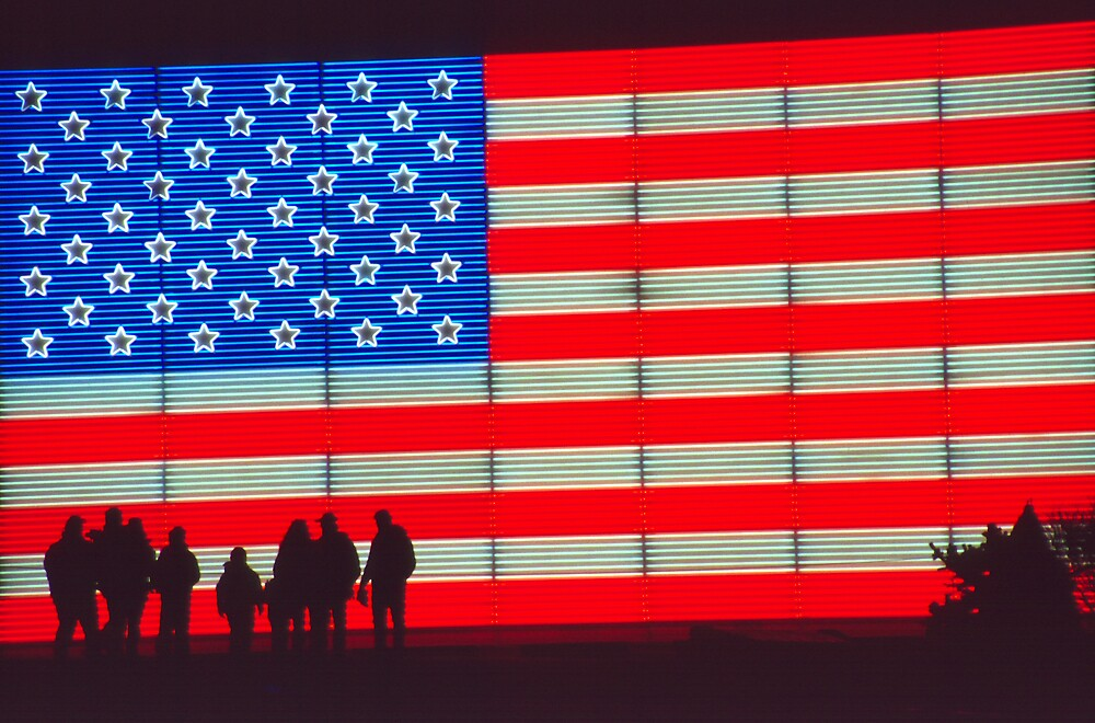Neon American Flag with Silhouetted Family by