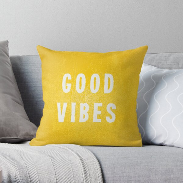 sunny yellow and white distressed effect good vibes throw pillow by itsjensworld redbubble