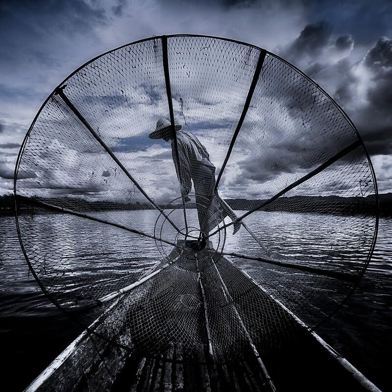 Burmese Net Fisherman - Travel fine art Photographic Print by Glen Allison