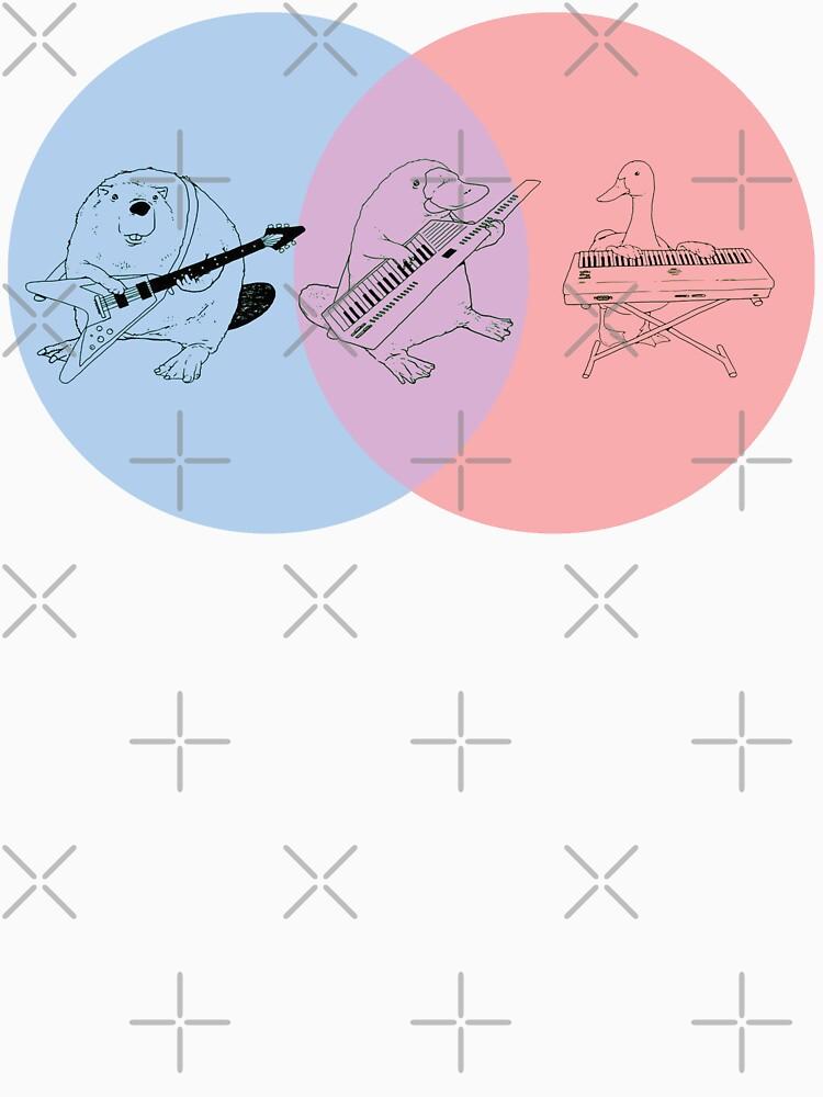 platypus venn diagram dogfish muscle keytar blue purple red unisex t shirt by guyblank
