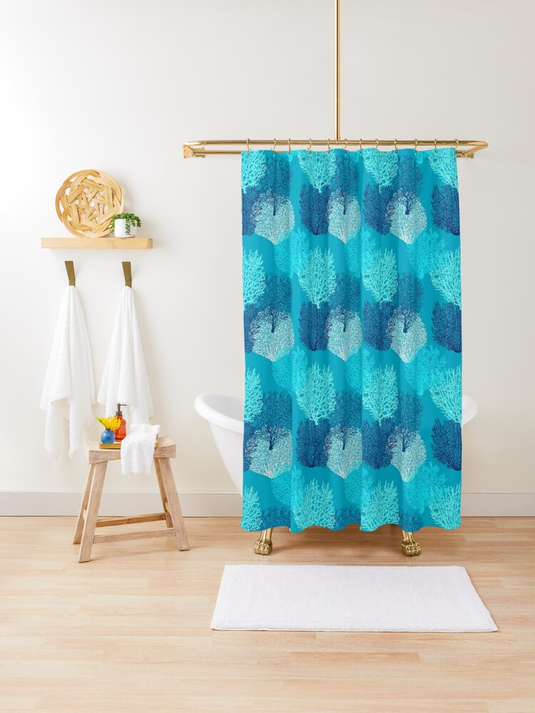 fan coral print turquoise aqua and cobalt blue shower curtain by marymarice redbubble