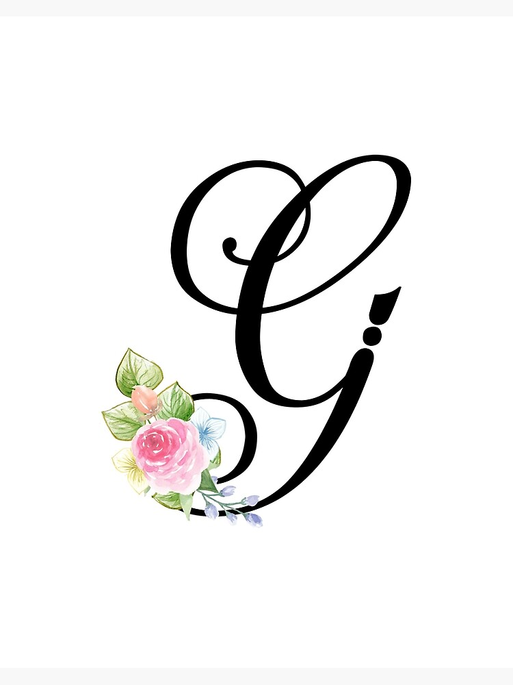 Fancy Calligraphy G : fancy, calligraphy, Floral, Monogram, Fancy, Script, Letter, Board, Print, Grafixmom, Redbubble