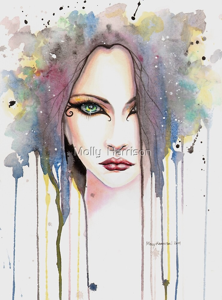 The Psychic Woman Fantasy Watercolor Art by Molly
