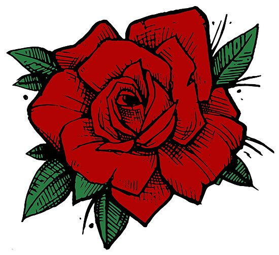 Lámina Fotográfica Old School Tattoo Rose De One And Only Redbubble