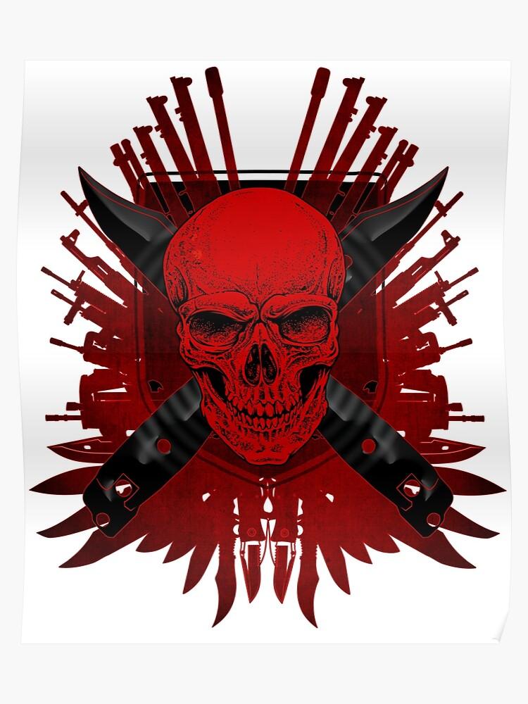 skull guns weapons knifes