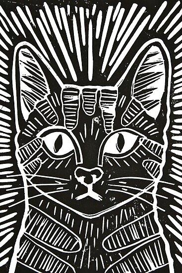 Cat Portrait Lino Print Photographic Prints by Adam