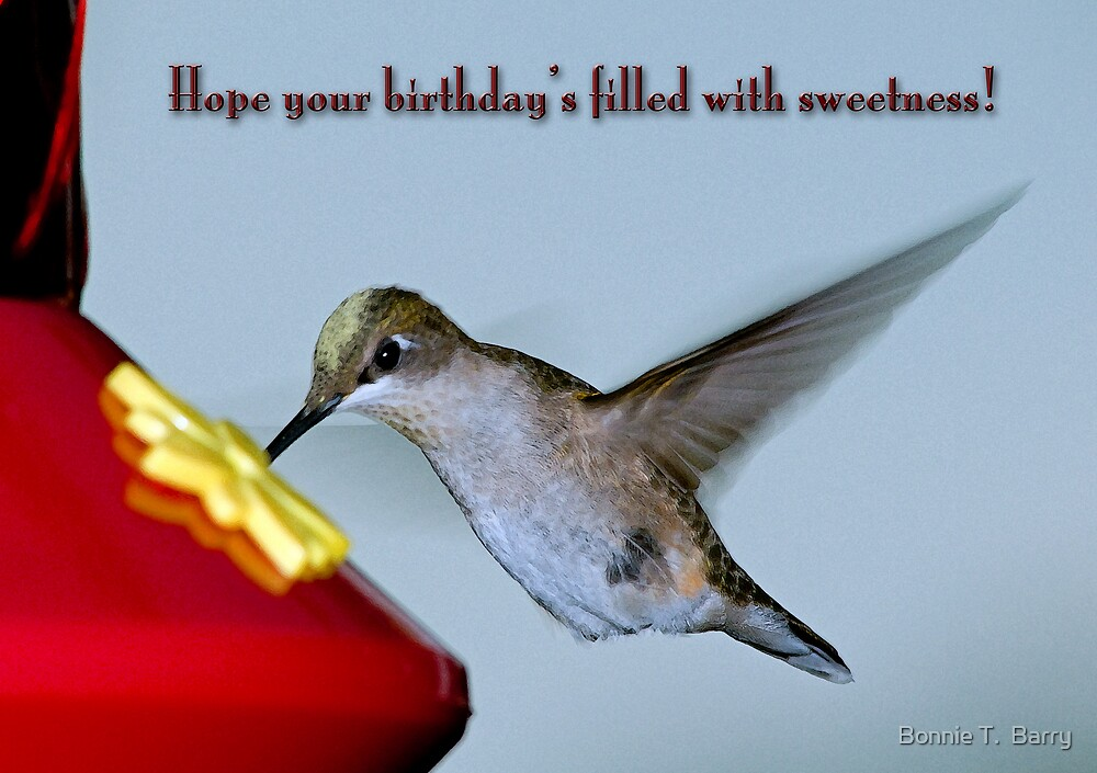 """Hummingbird Birthday Greetings"" By Bonnie T Barry"