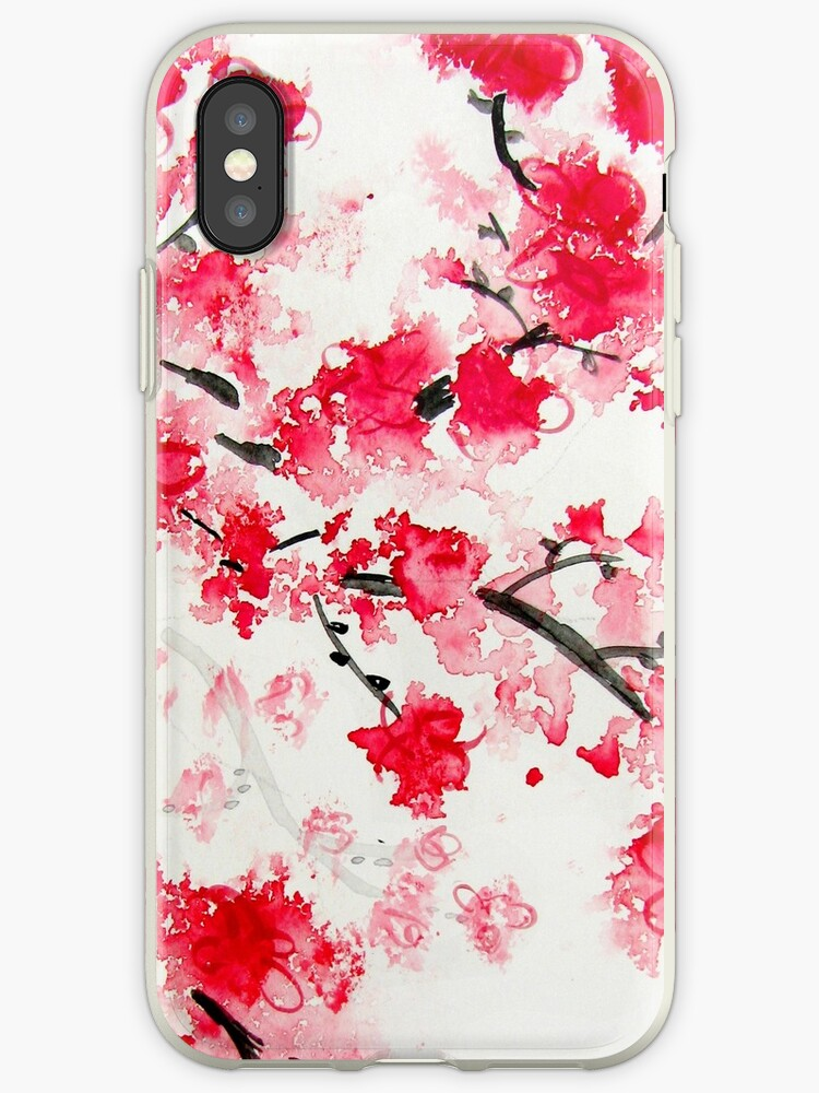 red cherry blossoms iphone