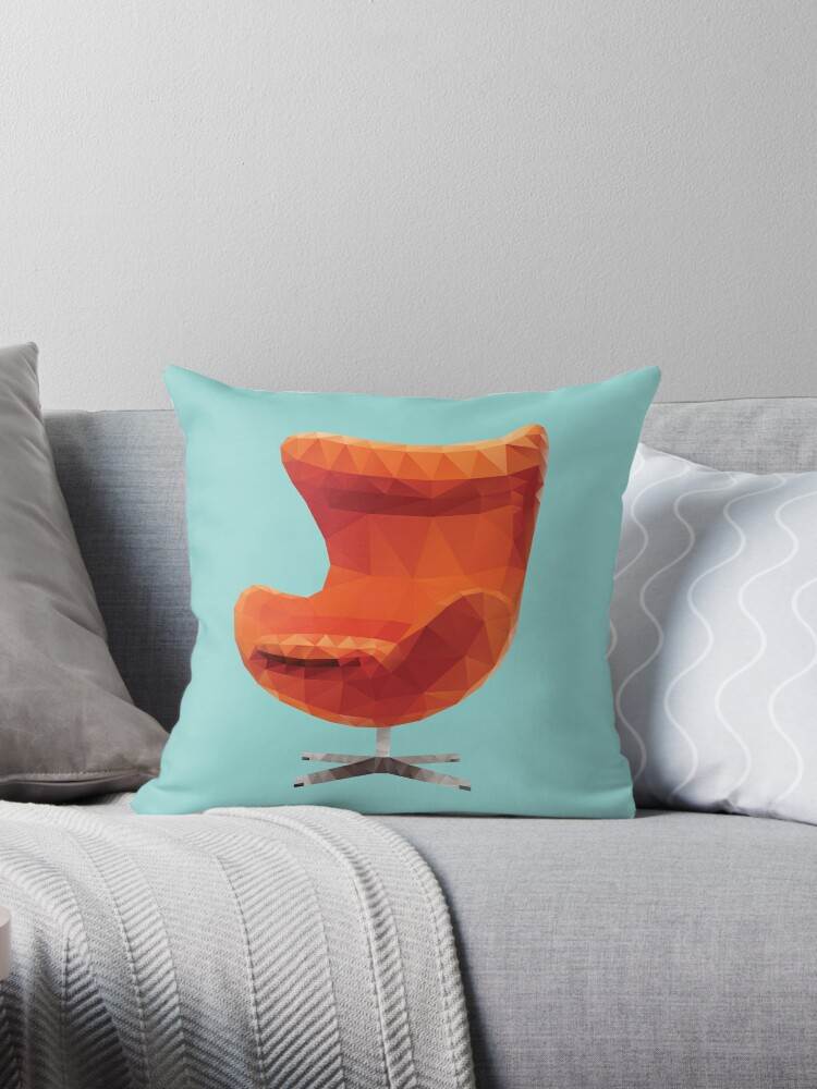 orange egg chair sure fit wing covers arne jacobsen polygon art throw pillows by polymolystudio